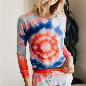 NWT Chaser TIE DYE BOLTS Linen French Terry Pullover